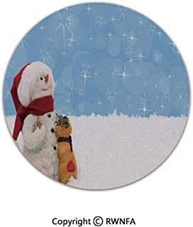 Home Decor Printed Beautiful Backing Machine Washable Carpet,Winter Time Theme Cute Snowman with Christmas Hat Scarf and Present Happy Holiday Decorative 3' Diameter Multicolor,Fluffy Area Rugs