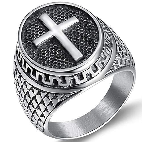 Jude Jewelers - Anillo de Acero Inoxidable, diseño de Cruz chrisitana