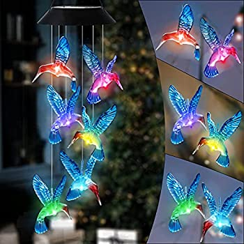 HiSolar Hummingbird Solar Wind Chime Color Changing Solar Mobile Light Waterproof LED Wind Chime Solar Powered Wind Mobile Colorful Light for Home Party Yard Garden Decoration Blue