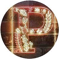 Letter P Initial Monogram Family Name Dual Color LED看板 ネオンプレート サイン 標識 赤色 + 黄色 210 x 300mm st6s23-i3453-ry