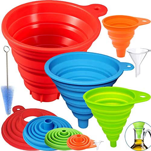 Kitchen Funnels for Filling Bottles Set of 6, Silicone Collapsible Funnel Set, Collapsible Filling Bottles Kitchen Funnel for Liquid Powder Hopper Solid Bean Transfer, Large and Small Canning Funnel
