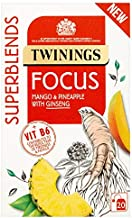 Twinings Focus 20 Tea Bags – No Caffeine Tea with Vitamin B6, Ginseng Root, Mango and Pinneaple. Vitamin B6 Contributes to the Reduction of Tiredness and Fatigue. Helps you Focus