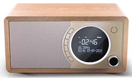 SHARP DR-450 (BR) DAB, DAB+ Digitalradio, Bluetooth, FM Radio, Alarm-/Schlaf und Snooze-Funktion, Holzoptik, Braun