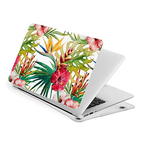 MacBook Pro 13 Inch Case Tropical Orchid Flower Large Leaves Hard Laptop Shell Case Cute Protective Laptop Cover