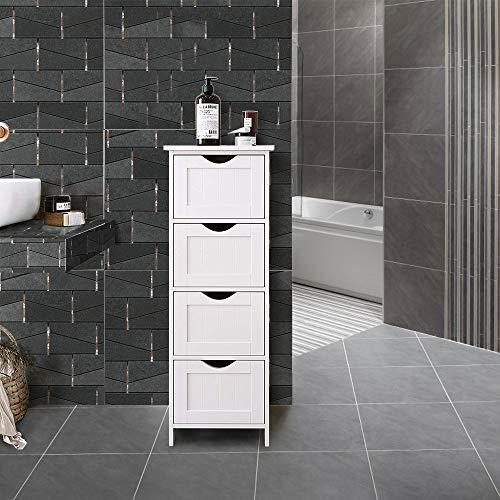 Badkamerkastje, Staande Kast met 4 Handige Vakken, Badkamermeubeltje Wit