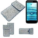 K-S-Trade® Handy Schutz Hülle Für Energizer H500S Schutzhülle Handyhülle Filztasche Pouch Tasche Case Sleeve Filzhülle Hellgrau, Blauer Rand