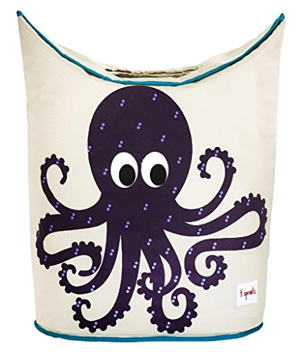 3 Sprouts Baby Laundry Hamper Storage Basket Organizer Bin for Nursery Clothes, Octopus