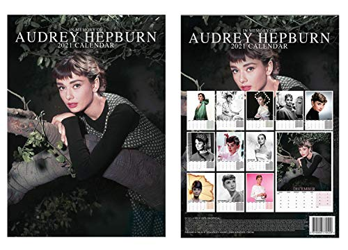 Audrey Hepburn A3 Calendar 2021 + Audrey Hepburn Fridge Magnet