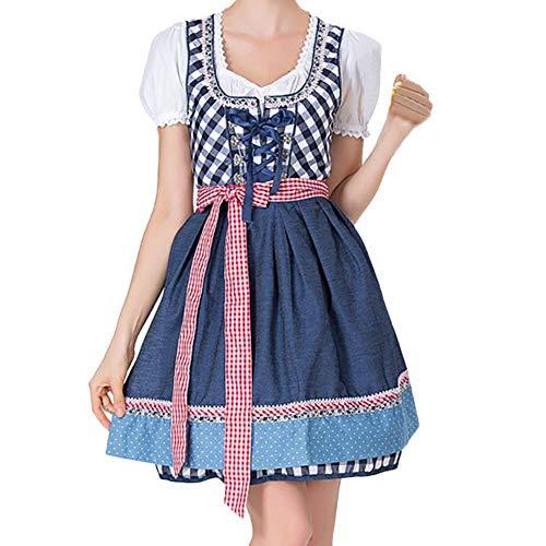 VEMOW Damen Kostüme Elegant Damen 3 Stück Dirndl Kleid Bluse Costumes rachtenkleid mit Stickerei Traditionelle Bayerische Oktoberfest Karneval(X2-Blau, 34 DE/S CN)