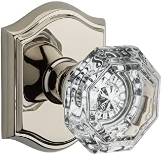 Baldwin PV.CRY.TAR Crystal Privacy Door Knob Set with Traditional Arch Trim from, Polished Nickel