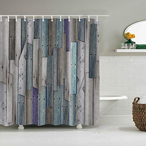 BWBJJ 3D gedruckte Blaugraue Holzmaserung 180x180 cm Duschvorhänge Badvorhang Wasserdicht Badezimmer Home Decor Waschbare Stoff Bad Displaye