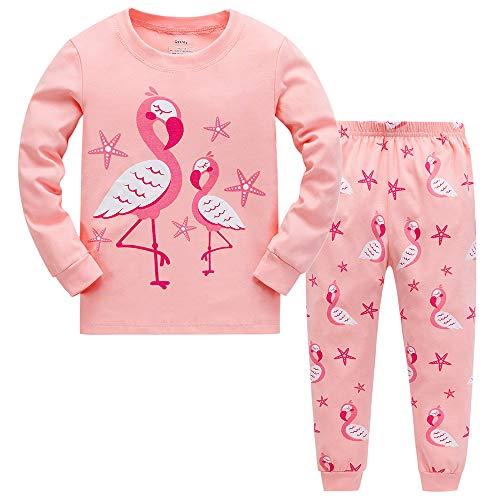 Tkiames Schlafanzug für Mädchen, Motiv: Giraffe, 2-teiliges Set, schmale Passform, 100 % Baumwolle (Größe: 1 - 10 Jahre) Gr. 6-7 Jahre, Flamingo 2