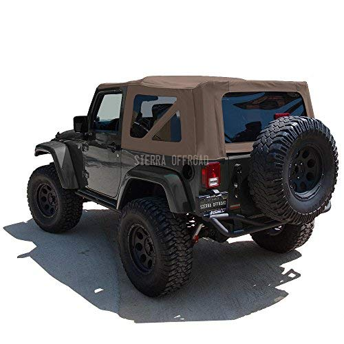 Sierra Offroad Soft Top Replacement for Jeep Wrangler JK 2007-2009 2DR Factory Style, Sailcloth Vinyl, Saddle