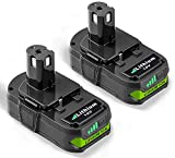 2 Pack 3000mAh P102 Replacement for Ryobi 18V Lithium Battery, Compatible with P103 P104 P105 P107 P108 P109 for Ryobi 18 Volt ONE+ Plus Power Tool Batteries