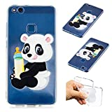 CaseLover Huawei P10 Lite Hülle, Transparent Schutzhülle Mode Handy Case Huawei P10 Lite 5,9' Silikon Case, Weiche TPU Handyhülle Shockproof Handy Cover, Panda und Babyflasche