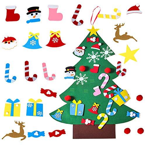 ZoneYan Albero Natale Feltro, Albero per Bambini, Alberi Natale Bambini, Albero di Natale Bambini con 26 Pezzi Decorazioni, DIY Staccabile Decorazione da Parete per Bambini Decorazione di Natale