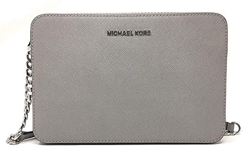 Beautiful and durable saffiano finished leather with polished silver tone hardware Lined interior with padded open slip pocket on back wall and open slip pocket on the front wall Zippered top closure with Michael Kors iconic logo on the front Single ...