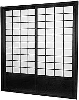 Oriental Furniture 7 ft. Tall Zen Shoji Sliding Door Kit - Black