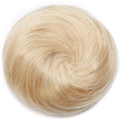 SEGO Scrunchies Buns Updo 100% prawdziwe Remy [#613 Bleach Blonde] jednoczęściowe przedłużenie włosów niechlujny kok ślubne treski dla kobiet sznurek kucyk prosty (30 g)