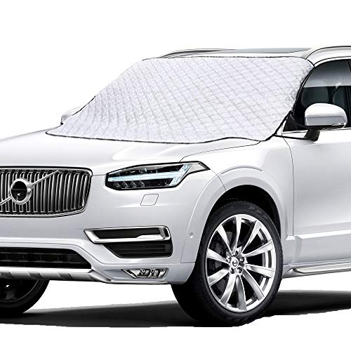 Mumu Sugar Car Windshield Snow Cover, Windshield Cover for Ice and Snow with Magnetic Edge, Thicker 4 Layers Defense Snow, Ice and Frost, Extra Large Windshield Winter Cover Fits Most Cars and SUV