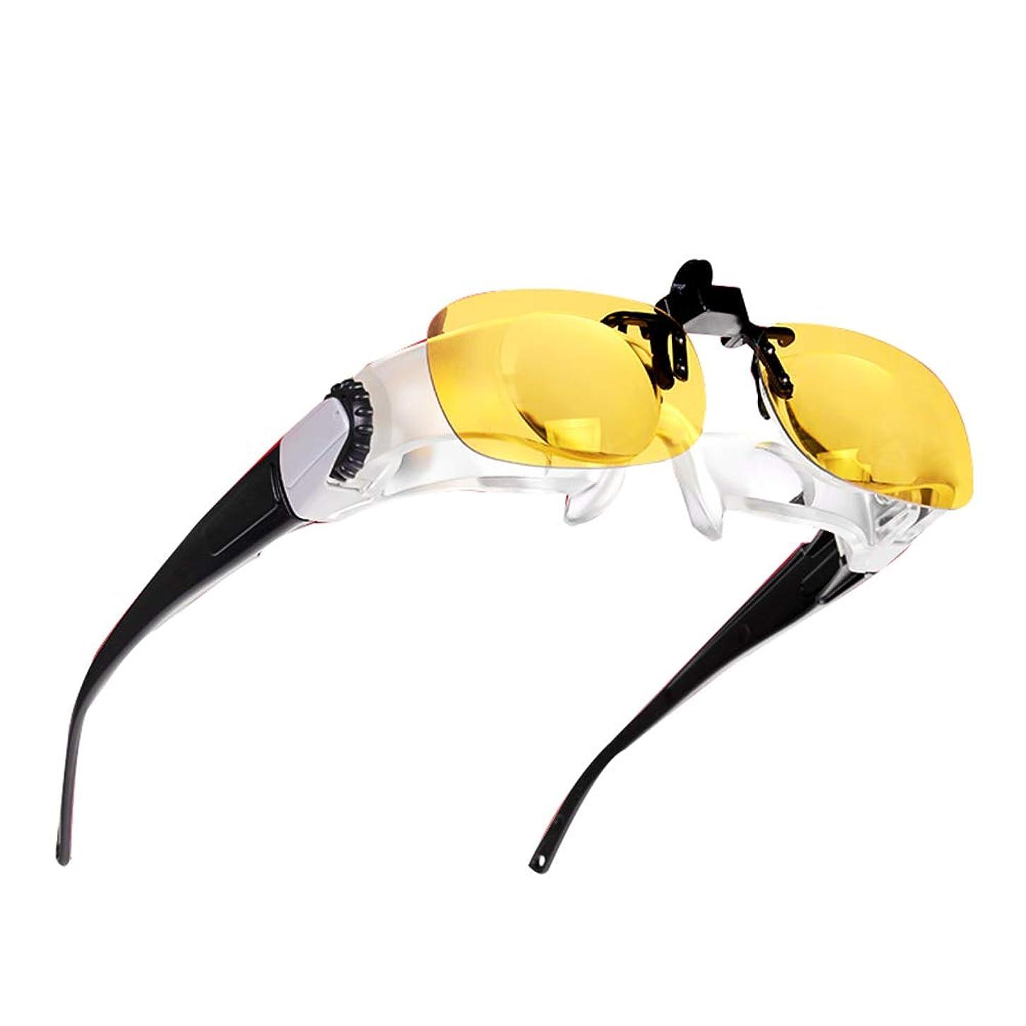 寝てる飛び込むクルー5Xヘッドマウントメガネ虫眼鏡、HD釣り望遠鏡ナイトフィッシング虫眼鏡,4組の光学レンズで 調節可能な焦点距離