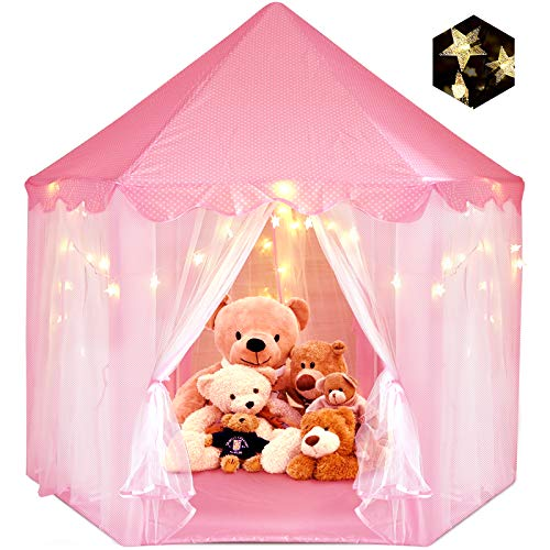 """Princess Tent for Girls, ZUOSEN Large Castle Play Tent for Girls with LED Star Lights Indoor Outdoor Girl Toys Hexagon Playhouse, Foldable&Easy Carrying Girl Gift Pink Tent for Game 55.5""""x 53""""(DxH)"""
