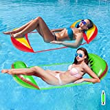 Pantula Inflatable Floating Hammock Pool Floats for Adult Size 4-in-1 Water Hammock 2Pack for Pool with Mesh Swimming Pool Floties Saddle, Water Chair, Hammock, Drifter(Rainbow)