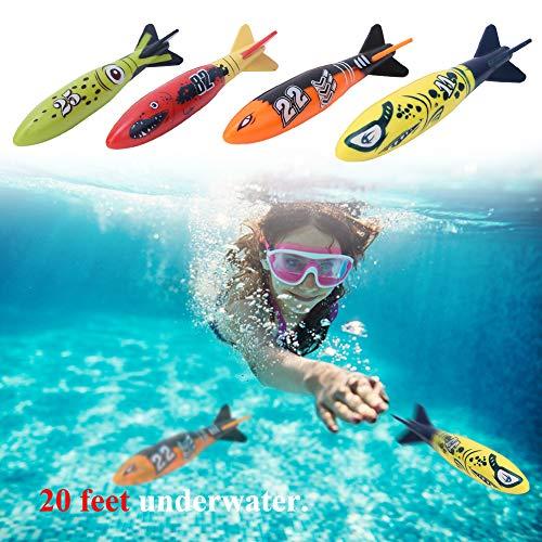 Alomejor 4 Stücke Tauchen Spielzeug Schwimmen Torpedo Spielzeug Unterwasser Schwimmbad für Kinder(Vierfarbenkombination)