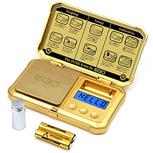 Gram Scale 200 x 0.01g with 50g Calibration Weight Pocket Scale Golden Herb Scale Gold Small Scale LCD Backlight Read in Gram oz Grain Carat Pennyweigh ozt