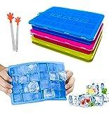 Aveli Eiswürfelform Silikon Mit Deckel Und Clip 3 Stück Eiswürfelschale 24-Fach Ice Cube Tray...