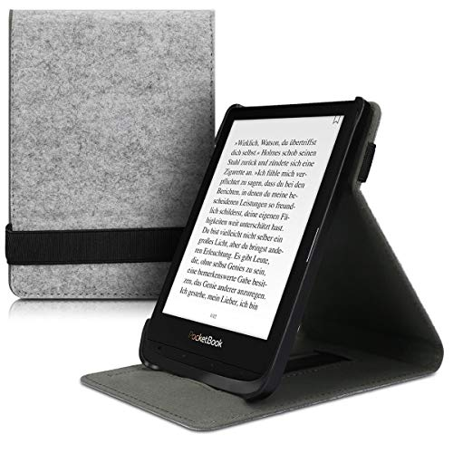 kwmobile Cover Compatible with Pocketbook Touch Lux 4/Lux 5/Touch HD 3/Color (2020) - Felt e-Reader Case with Hand Strap and Stand - Felt Light Grey