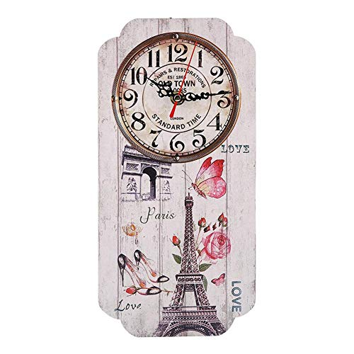 AUNMAS Vintage Europese stijl wandklok met Eiffeltoren patroon Arabische cijfers geometrische rechthoekige muur analoge klok voor interieurs