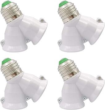 4x B22 to 2xE27 White 2 Into 1 Light Bulb Lamp Socket Fitting Adaptor Splitter