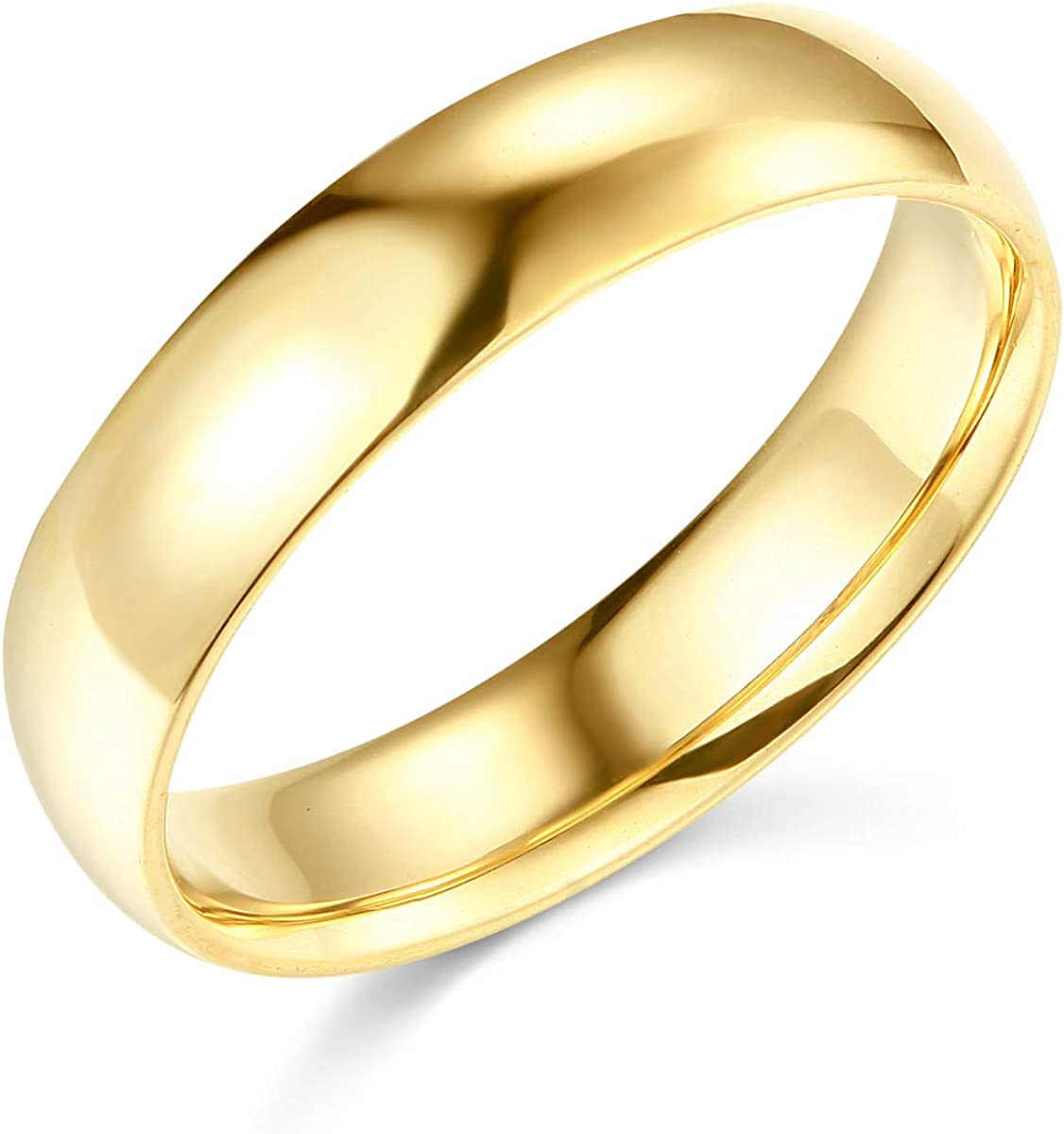 Wellingsale Mens 14k Yellow -OR- White Gold Solid 5mm COMFORT FIT Traditional Wedding Band Ring