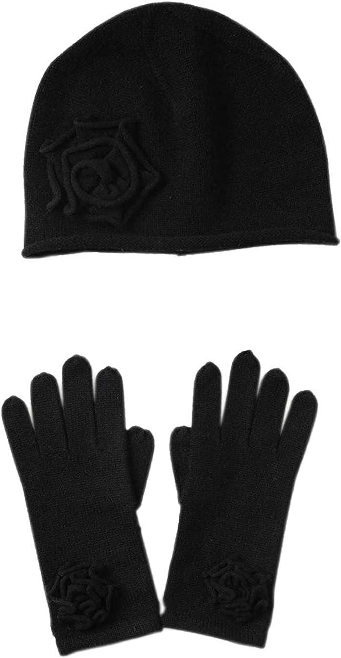 LiuliuBull Three Cashmere Ladies 100% Cashmere Hat Glove - Pure Cashmere Cap Mittens Glove Headwraps for Women