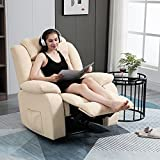 AVAWING Fabric Recliner Chair with Heat and Massage,Ergonomic Home Sofa with Remote Control for Living Room Bedroom Home and Office (Beige)