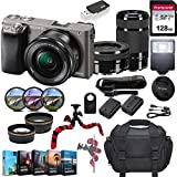 Sony Alpha a6000 Mirrorless Camera w/ 16-50mm & 55-210mm Lenses & 128GB SD Card Bundle(Black)