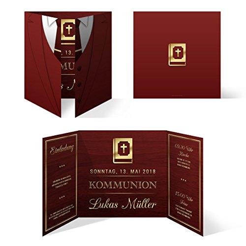 10 x Kommunion Einladungskarten Kommunionseinladungen Einladungen - Altarfalz Anzug