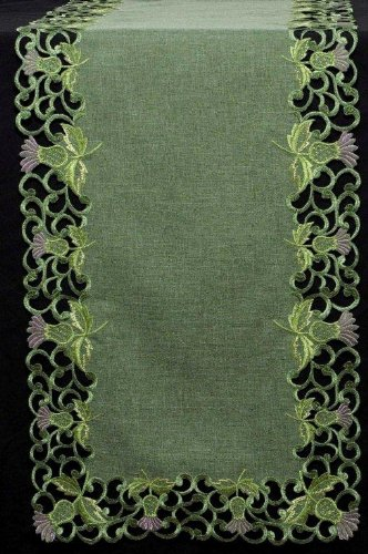 Table Runner (Small) in a Green Balmoral Thistle Design