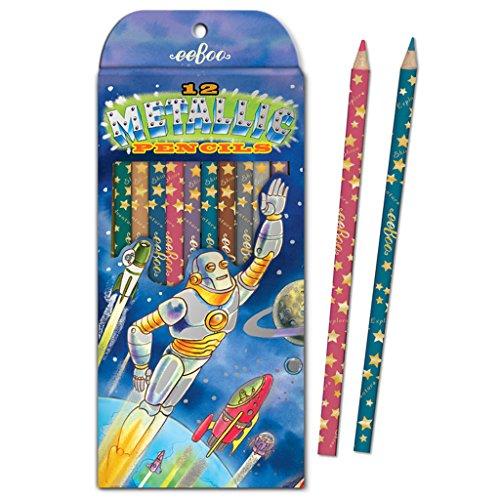 eeBoo Metallic Colored Pencils, Robot Rescue, Set of 12