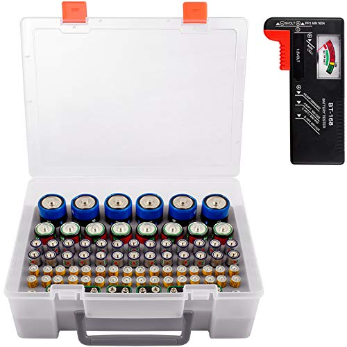 Battery Organizer Storage Box, Garage Storage Containers Case Holder with Battery Checker Tester Fits for 86 Batteries AA AAA C D 9V Lithium 3V (Not Includes Battery Pack)