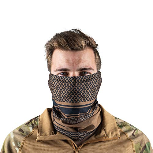 Terra Kuda Face Clothing Neck Gaiter Mask – Non Slip Light Breathable for Sun Wind Dust Bandana Balaclava (Coyote Shemagh)