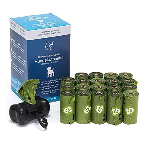 Happilax Bolsas para Excrementos de Perros Biodegradables con Almidón de Maíz, Bolsa Caca Perro y Gato sin Olor, 300 Piezas - con Dispensador