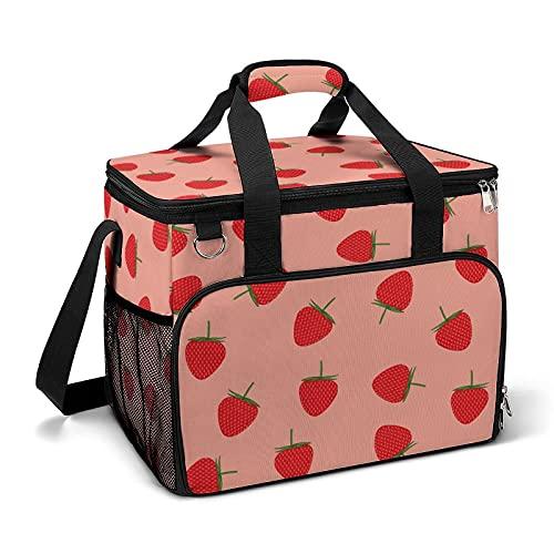 Bolsa térmica térmica portátil a prueba de fugas, diseño de fresas adecuado para niños y niñas con bolsa y bolsillos laterales de malla, adecuado para picnics escolares o trabajo.