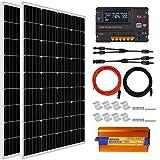 ECO-WORTHY Kit de panel solar de 240 W para panel de 1000 W 220 V puro inversor de sino + 2 piezas 120 W panel solar de policristalino + 20 A controlador de cargador de batería