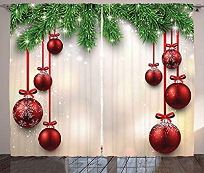 Green Fir Branches and Red Balls Christmas Curtain