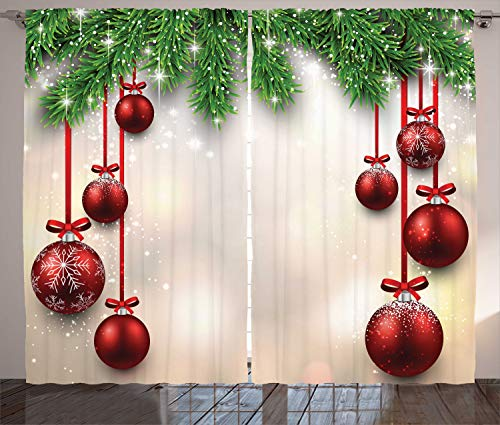 """Ambesonne Christmas Curtains, Xmas Traditional Winter Season Theme Fir Twigs and Vibrant Balls Graphic Print, Living Room Bedroom Window Drapes 2 Panel Set, 108"""" X 90"""", Green and Red"""