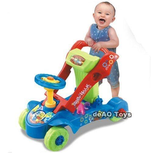 deAO Toys 2-in-1 loopstoeltje en duwkrachtrit op auto met vormsorteerder, licht- en geluidseffecten