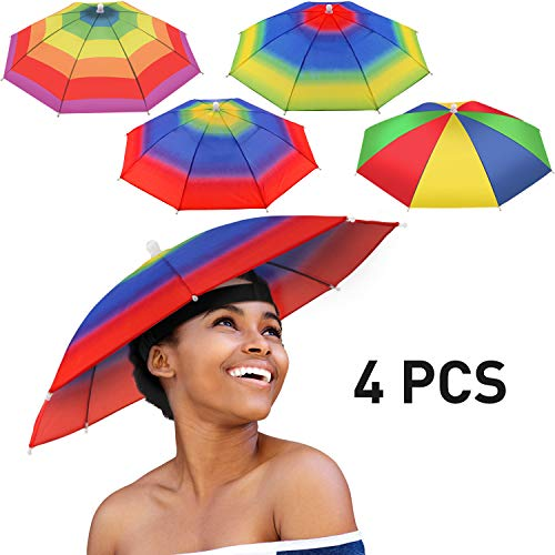 4 Pieces Rainbow Umbrella Hat Adjustable Sun-rain Umbrella Hat for Adults and Kids (Color Set 3)