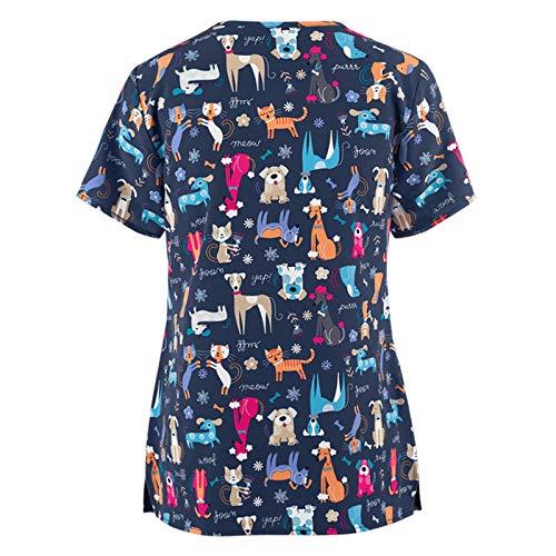 Sonojie Kasack Damen T-Shirts Bunt Pflege gro/ße gr/ö/ßen mit Bunte S/ü/ßes Tier Motiv T-Shirt Schlupfkasack mit Taschen Kurzarm V-Ausschnitt Schlupfhemd Berufskleidung Krankenpfleger Uniformen Nurse